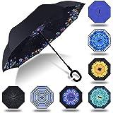 Paraguas invertido innovador, paraguas invertido doble de la capa,paraguas reverso de los coches