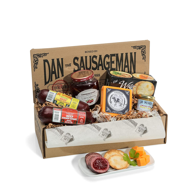 Dan the Sauasgeman Skandia Gourmet Gift Box -featuring Smoked Summer Sausages, Wisconsin Cheeses, and Scandinavian Lingonberry Sauce