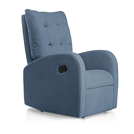 SUENOSZZZ-ESPECIALISTAS DEL DESCANSO Sillon Relax reclinable Soft tapizado Tela Antimanchas Color Azul   Sillon reclinable butaca Relax   Sillon ...