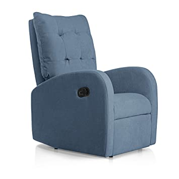 SUENOSZZZ-ESPECIALISTAS DEL DESCANSO Sillon Relax reclinable Soft tapizado Tela Antimanchas Color Azul | Sillon reclinable butaca Relax | Sillon ...
