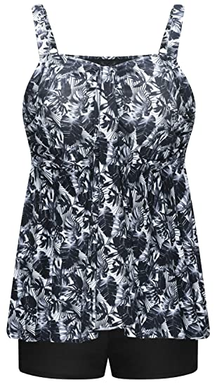 31bdef69c664a Wantdo Women s Plus Size Tankini Set Floral Printed Two Pieces Swimsuit  Large