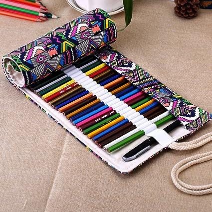 XYTMY - Estuche para lápices, bolígrafos, gomas, sacapuntas, rotuladores o agujas de ganchillo, tela, hecho a mano, enrollable, color 36 Holes, ...