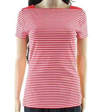 c54e73558 Amazon.com  Lauren Ralph Lauren Striped Stretch Cotton Short Sleeve ...
