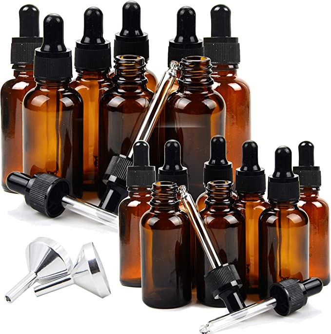 Glass Dropper Bottles for Essential Oils 2 Extra Droppers Included 1 OZ Empty Small Eye Dropper Bottles Amber 8 Pack Portable Travel Size Leak Proof Bottles