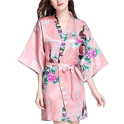 2cc6c9962b Luxspire Women s Silk-Like Half Sleeve Nighty Pajamas Straped Floral  Printed Kimono Nightgown