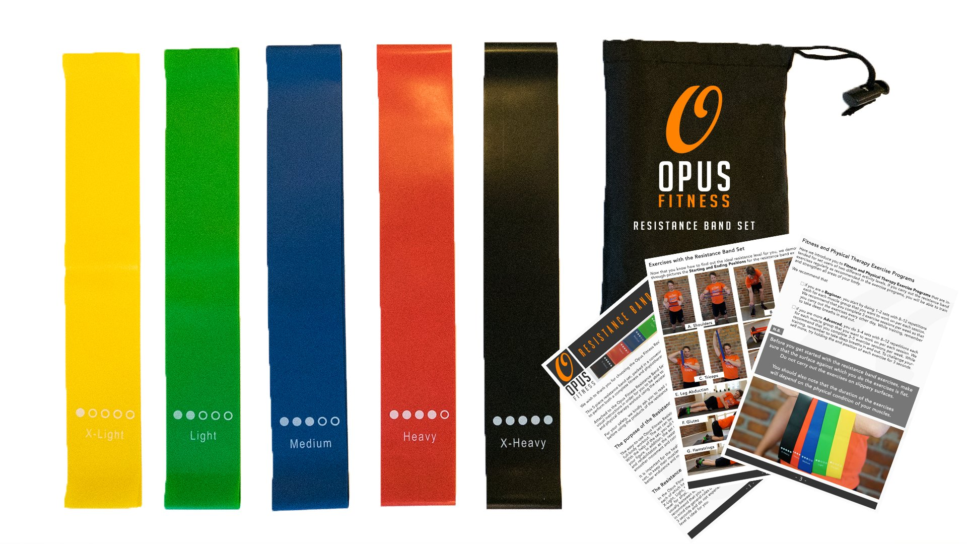 Opus Fitness Resistance Bands Training Exercise Set – 80 Day Obsession Equipment – Also for Injury Rehabilitation and Physical Therapy – Set of Five Bands with Carrying Case and Full Instructions