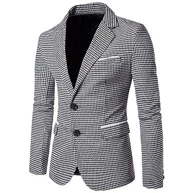 grossiste 6f6f9 2287a Vertvie Homme Slim Fit Veste Blazer Élégant à Carreaux Pied-de-Poule  Costume Manteau Classique avec Bouton