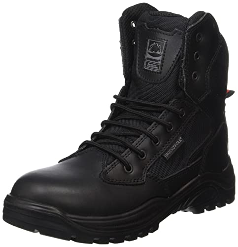 Steel Toe Cap Combat Tactical Safety Ankle Boots Security Military Police  Boot (UK5, black