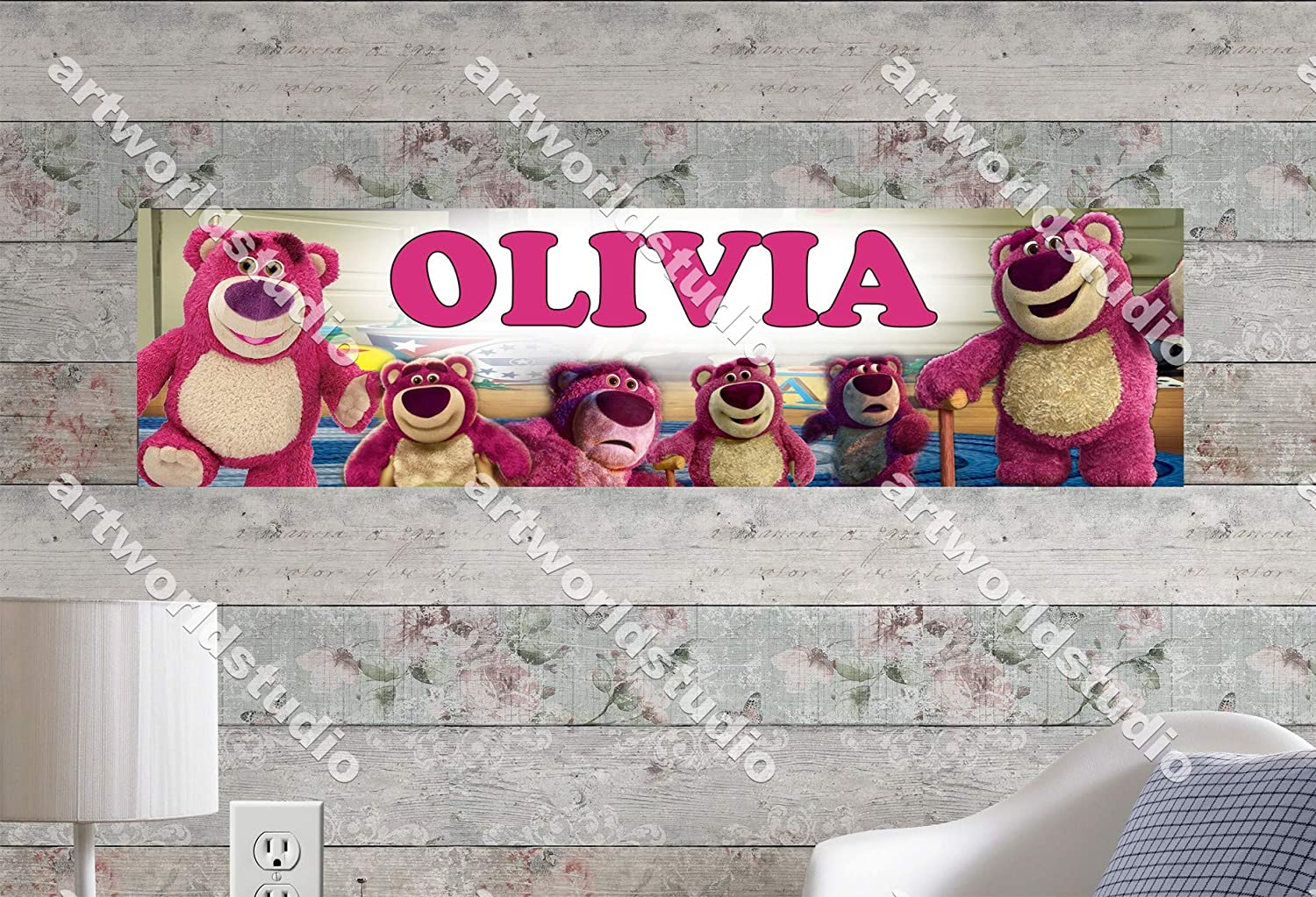 Customize With Your Childs Name 8.5x30 Personalized Name Poster Birthday Party Banner Lotso