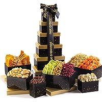 Holiday Dried Fruit & Nut Gift Basket, Black Tower (12 Mix) - Thanksgiving, Christmas, Xmas Food Arrangement Platter…