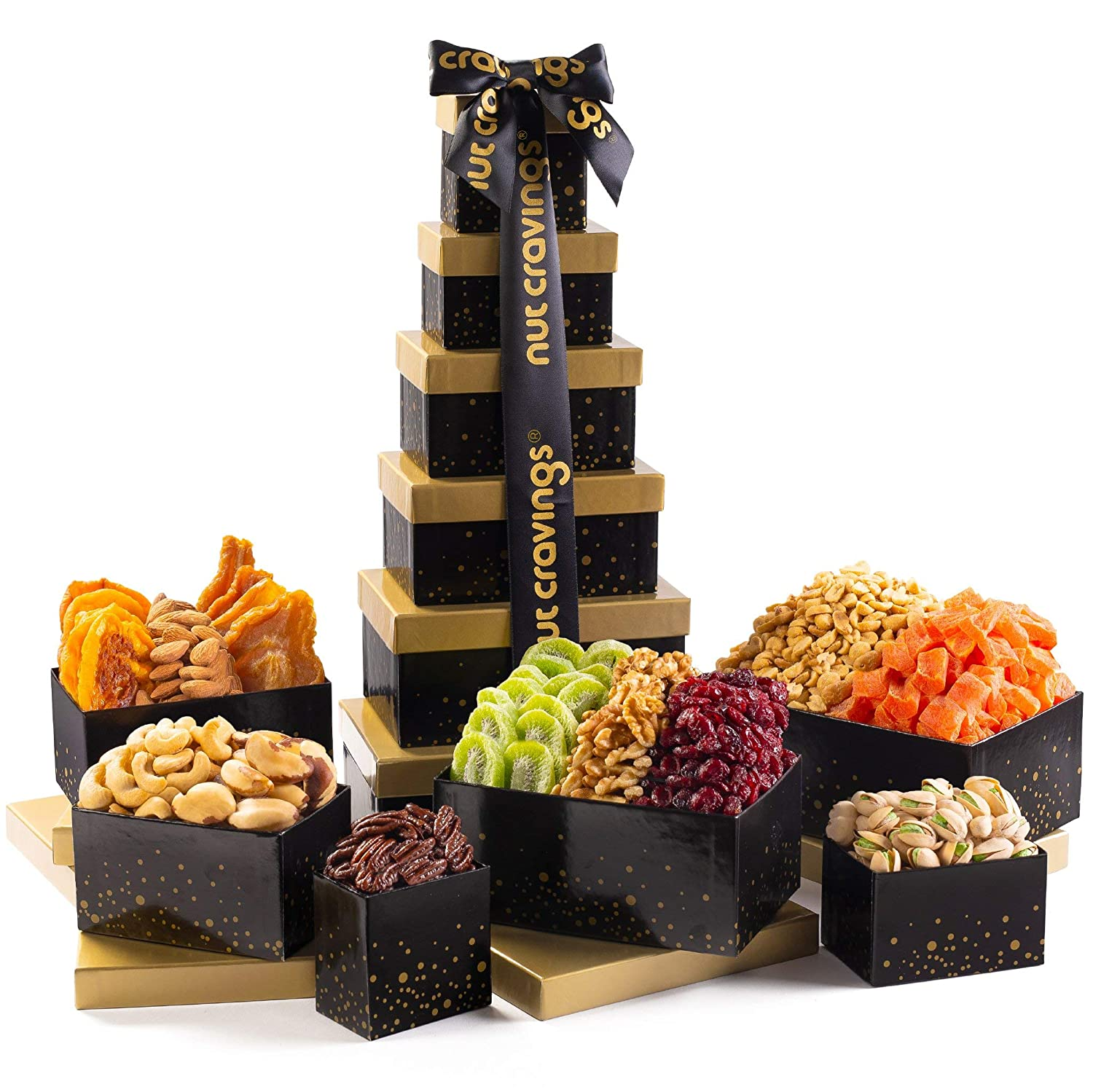 Holiday Christmas Dried Fruit & Nut Gift Basket, Black Tower (12 Mix) - Prime Xmas Gourmet Food Arrangement Platter, Care Package Assortment, Healthy Kosher Snack Box for Families, Women, Men, Adults