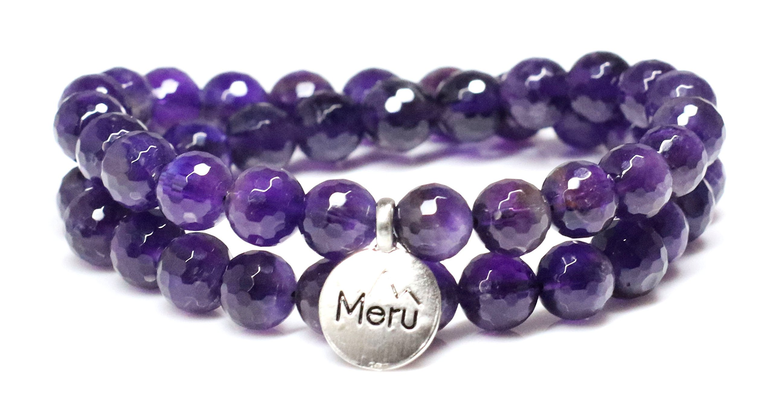Medium Faceted Amethyst Wrap Bracelet for Women - Amethyst Bracelet - Amethyst Faceted Bracelet for Women