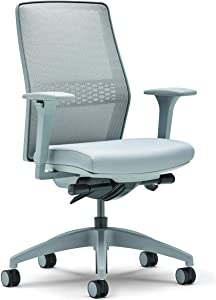 Allsteel Light Gray Lyric Task Chair with Lumbar, Synchro-Tilt, Mesh High-Back and 2-D Adjustable Arms