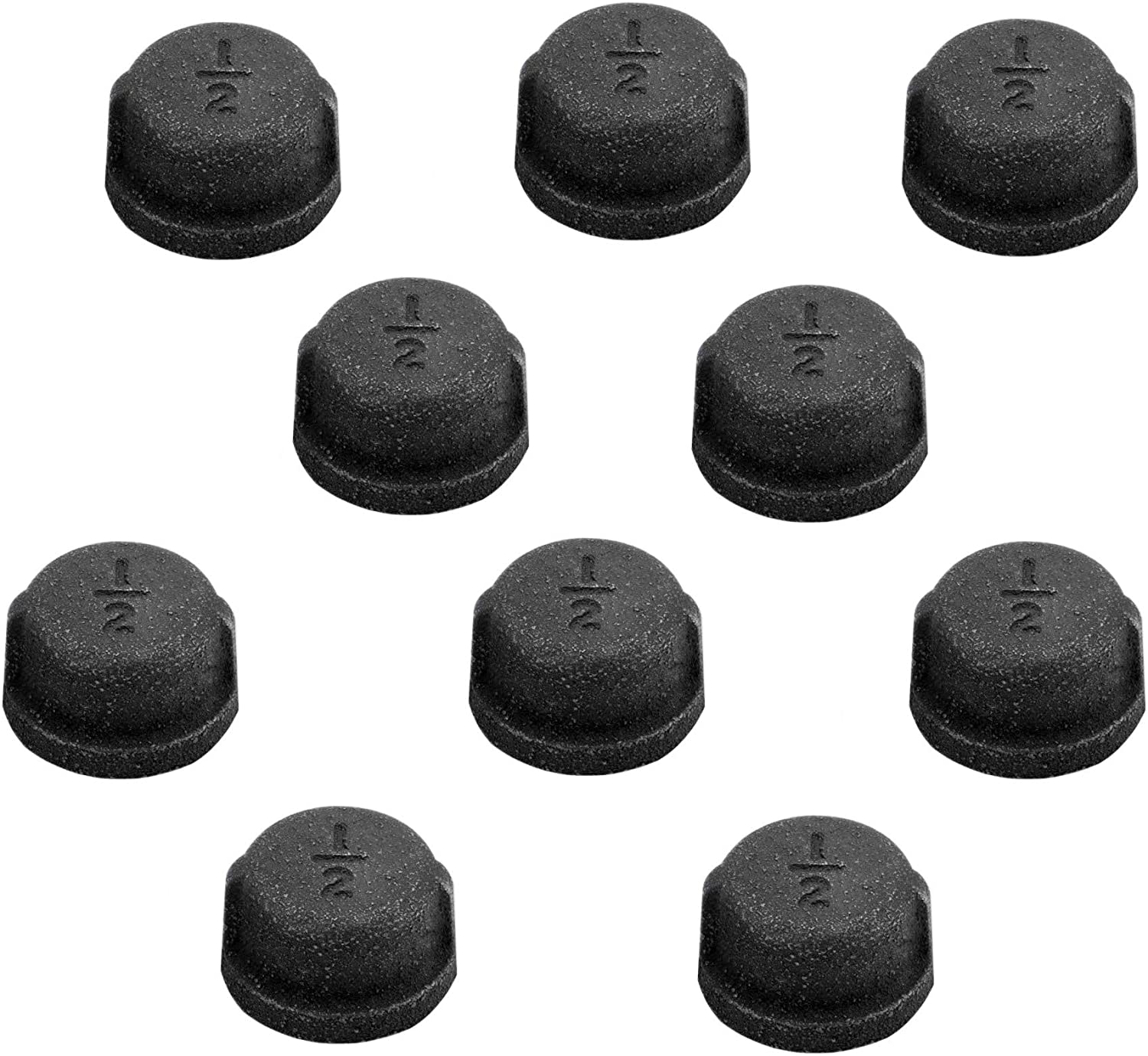 1/2 Inch Black Malleable Iron Cast Pipe Fitting Cap, 10 Pack Black Pipe Caps for Steampunk Vintage Shelf Bracket DIY Plumbing Pipe Decor Furniture (1/2 Inch)