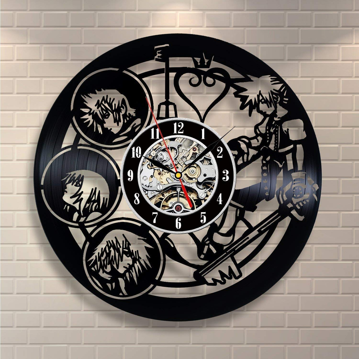 Kingdom Hearts Anime Vinyl Record Design Wall Clock – Decorate your home with Modern Kingdom Hearts Story Characters Art – Best gift for him and her, girlfriend or boyfriend – Win a prize for feedback