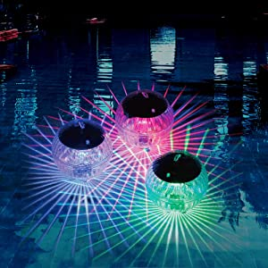 Solar Floating Ball Disco Pool and Pond Light with 7 Colors, Waterproof Wireless Auto Changing Multicolor LED Show Decor Lighting Accessory Plastic Balls for Swim Pools, Ponds, and Beach House