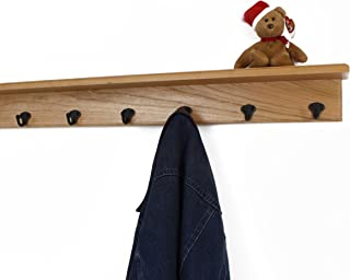 """product image for Solid Cherry Shelf Coat Rack with Aged Bronze Single Style Hooks (Natural, 31"""" with 6 hooks)"""
