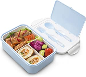 Lunch Box for Kids & Adults, Bento box with Spoon & Fork,Reusable 3-Compartment Divided Food Storage Container Boxes, On-the-Go Meal and Snack Packing(Blue)