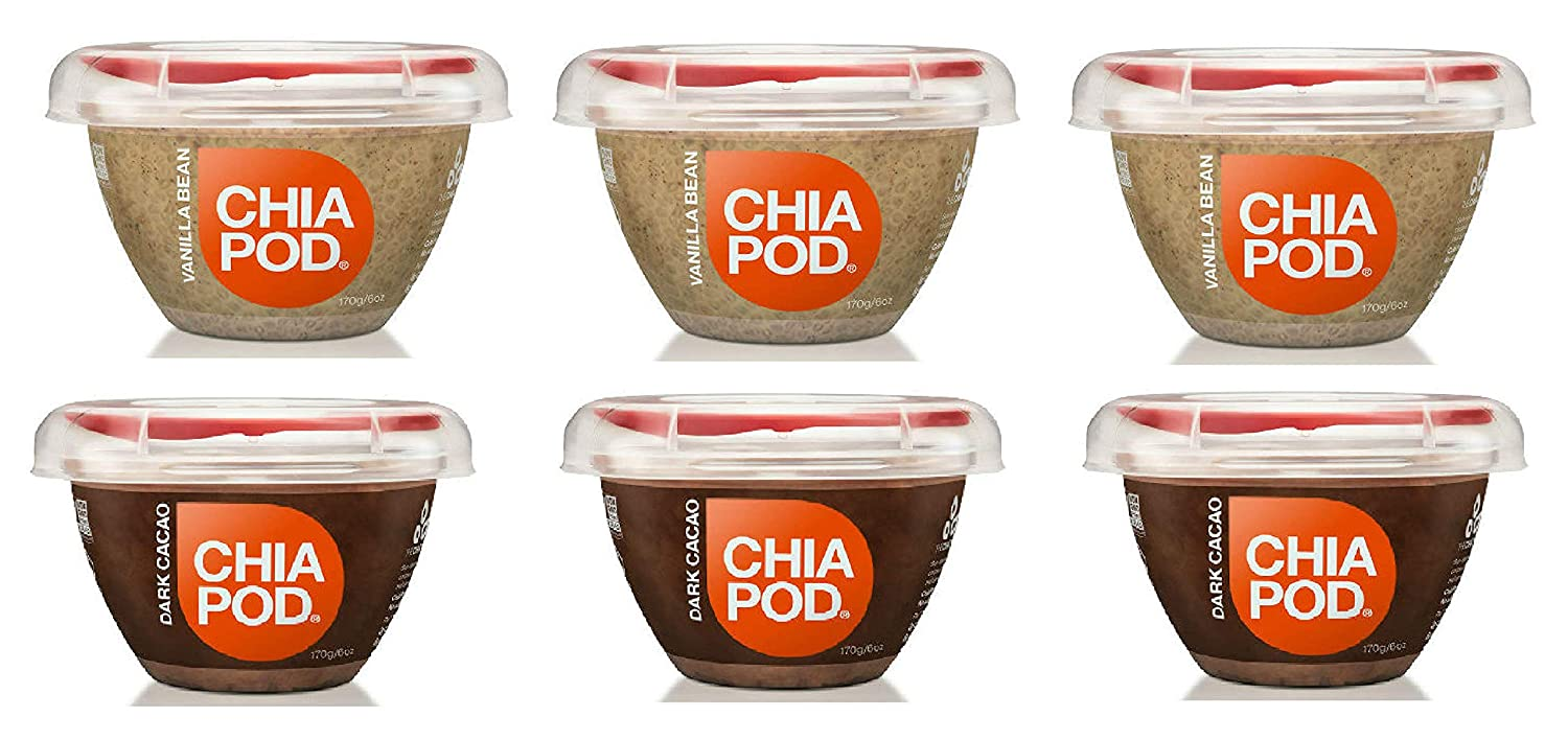 The Chia Co, Chia Pod, 3 Vanilla Bean, 3 Dark Cacao 6 oz (6 ...