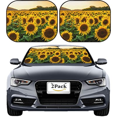 MSD Car Sun Shade Windshield Sunshade Universal Fit 2 Pack, Block Sun Glare, UV and Heat, Protect Car Interior, Image ID: Sunflower Field in Sunny Summer Day Image 23022946 Stain Resistanc: Automotive