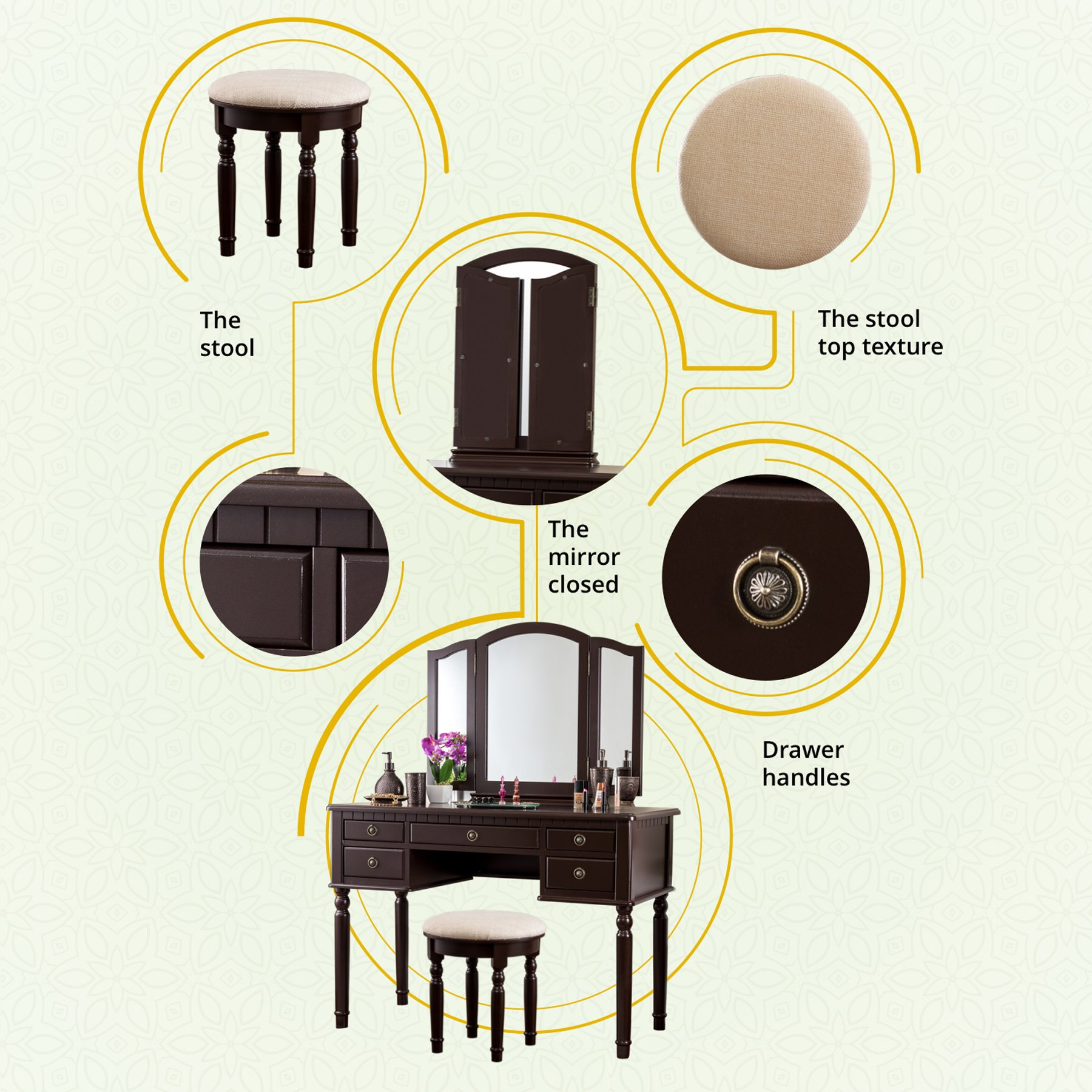 Fineboard Dressing Set with Stool Beauty Station Makeup Table Three Mirror Vanity Set, 5 Organization Drawers, Brown by Fineboard (Image #3)