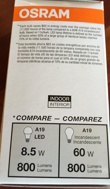 Sylvania 3-Pack 8.5-Watt (60W Equivalent) 2, 700K A19 Medium Base (E-26) Soft White LED Bulbs - - Amazon.com