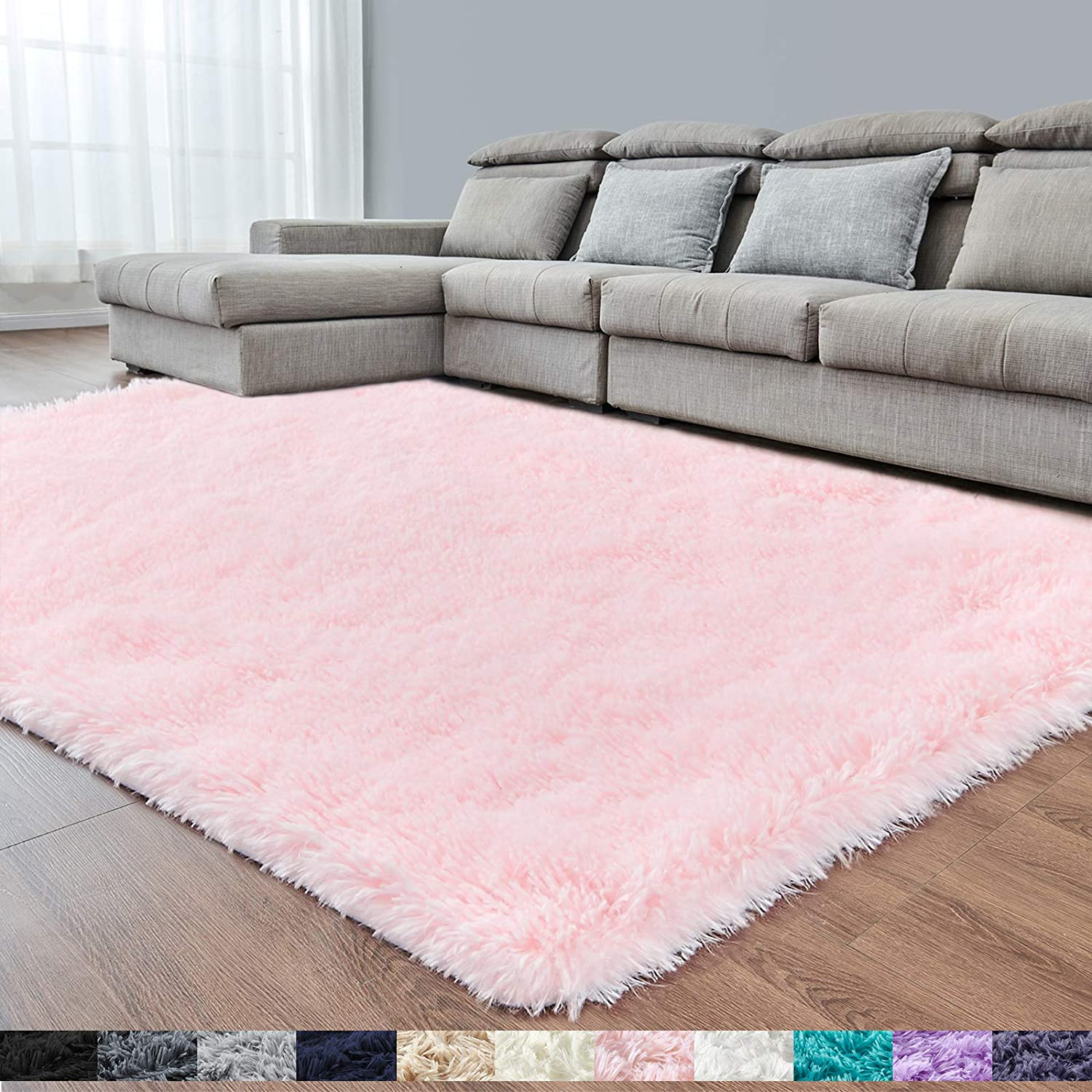 Pink Super Soft Area Rug for Bedroom,4x6,Fluffy Rugs,Shag Carpet for Living Room,Furry Rug for Girls Baby Room,Shaggy Rug for Kids Room,Nursery,Dorm,Non-Slip Rug,Pink Carpet,Home Decor,Bedside Rug