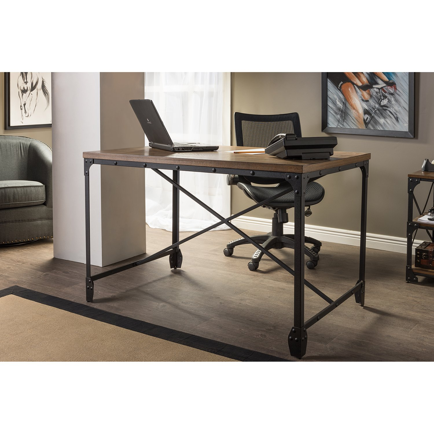 office wood table. Amazon.com: Wholesale Interiors Baxton Studio Greyson Vintage Industrial Home Office Wood Desk, Antique Bronze: Kitchen \u0026 Dining Table