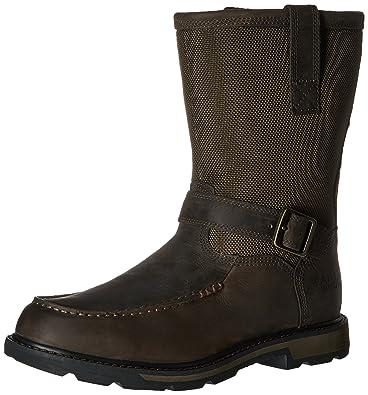 Ariat Men's Groundbreaker Moccasin Toe H2O Work Boot, Dark Brown/Dark Olive  Cordura,