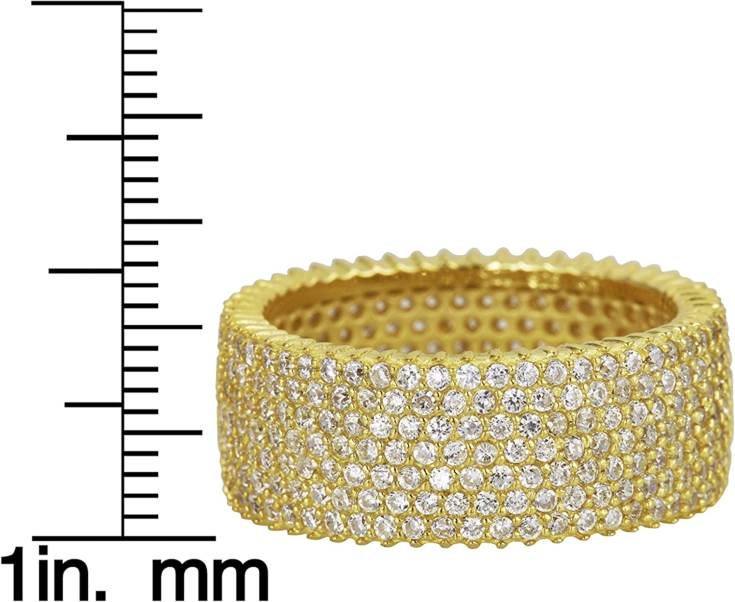 Sterling Silver Yellow Black 7 Row Cubic Zirconia Pave Eternity Band Ring Rose