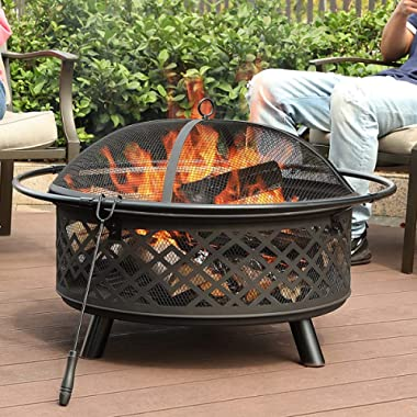 PHI VILLA 32  Fire Pit Large Steel Patio Fireplace Cutouts Pattern with Poker & Spark Screen