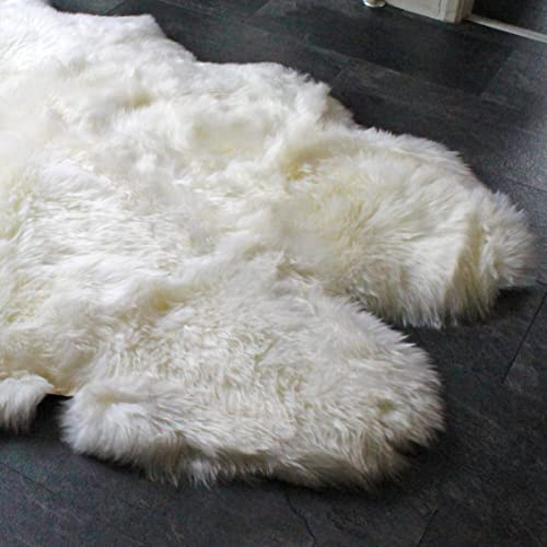 Outlavish Sheepskin Rug Genuine Soft Natural Merino 3.6 x 6 , White Ivory