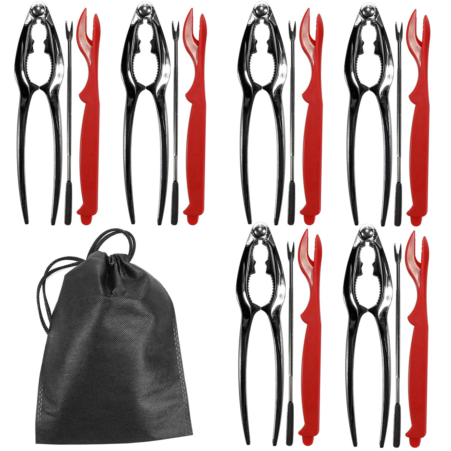 Seafood Tools Set Kit, Crab Nut Lobster Crackers Tools and Forks Set Including 6 Crab Crackers, 6 Lobster Shellers and 6 Forks