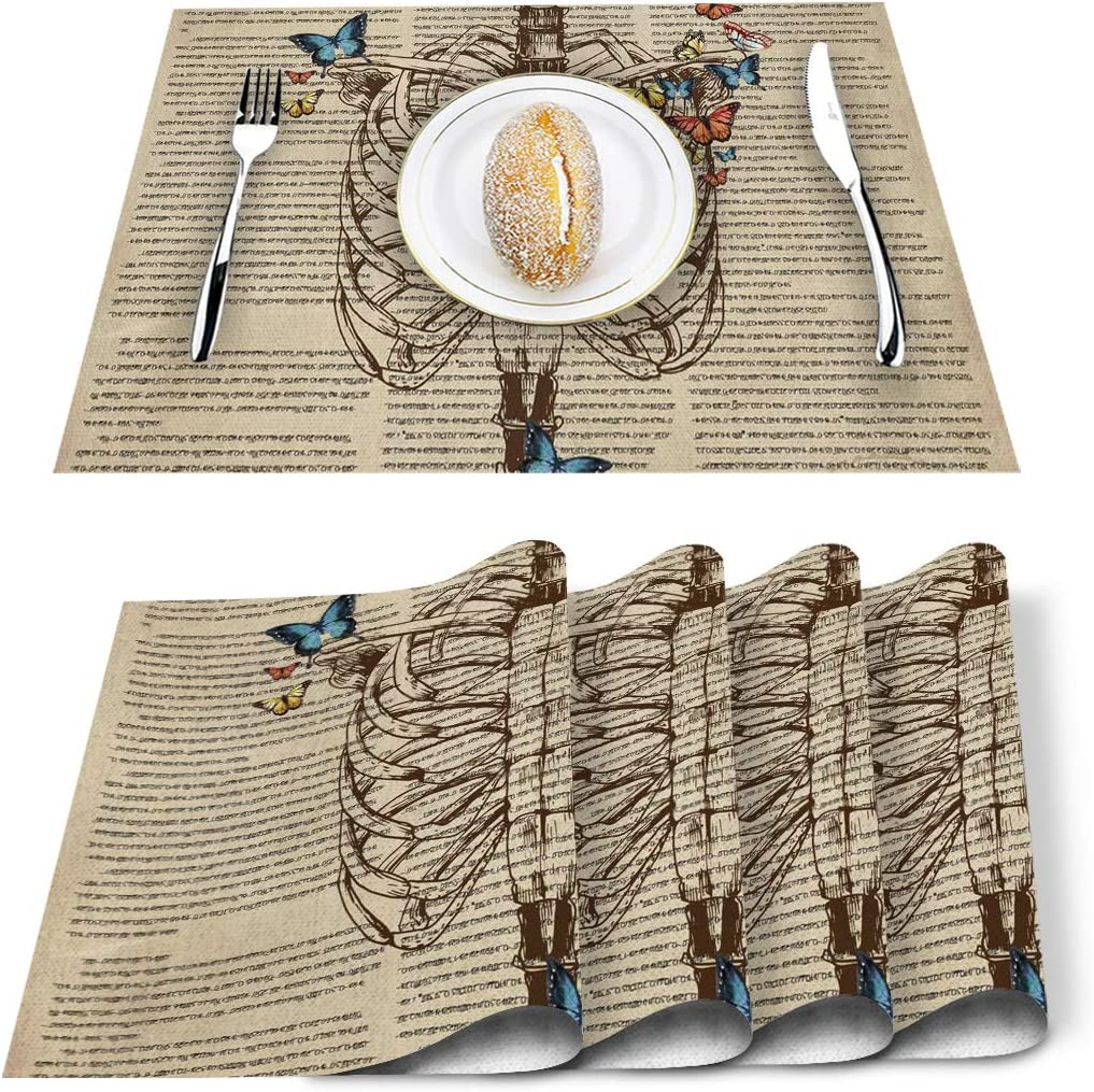 Amazon Com Placemats Set Of 4 Butterfly Human Skeleton Skull Painting Polyester Stain Resistant Table Mats Washable Placemat Decoration For Kitchen Dining Table Vintage Home Kitchen
