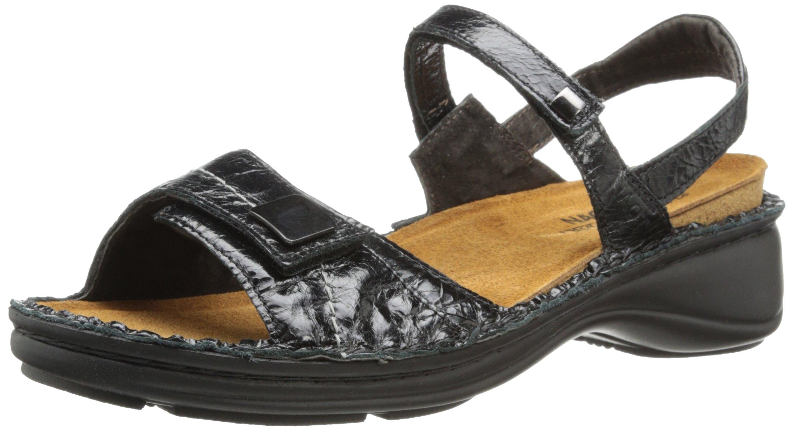 Naot Women's Papaya Flat,Black Madras Leather,40 EU/8.5-9 M US by NAOT (Image #1)