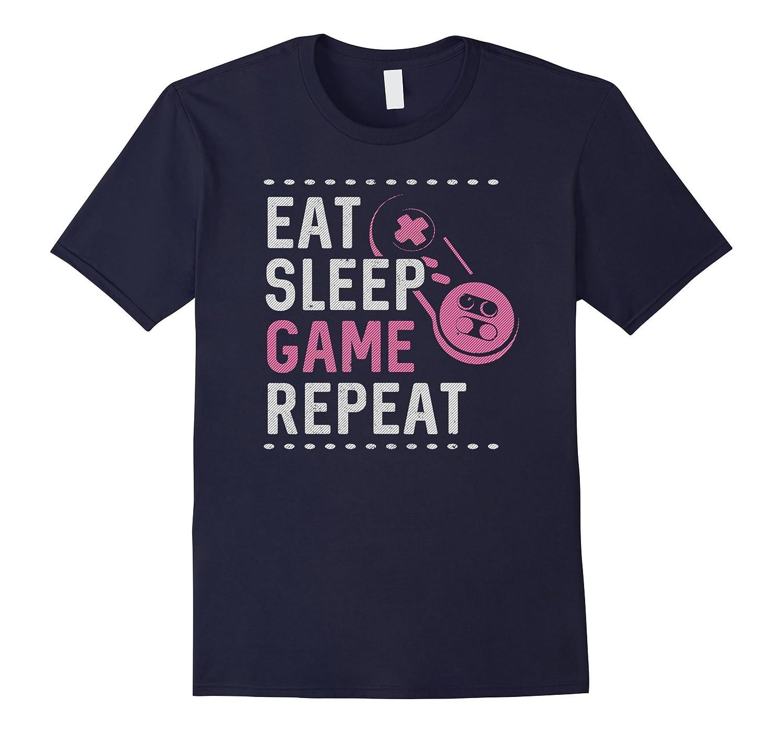 Eat Sleep Game Repeat T-Shirt : Retro Gamer Girl Gaming Gift-FL