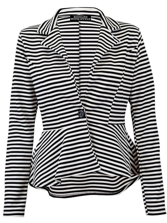 レディーススリムフィットストライプジャケット女性用長袖1つボタンペプラムブレザーコート US 10-12 ブラックアンドホワイトストライプ B071S8S142