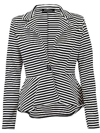 economico in vendita limpido in vista qualità e quantità assicurate Womens Full Sleeve Slim Fit Peplum Blazer Ladies Striped One ...
