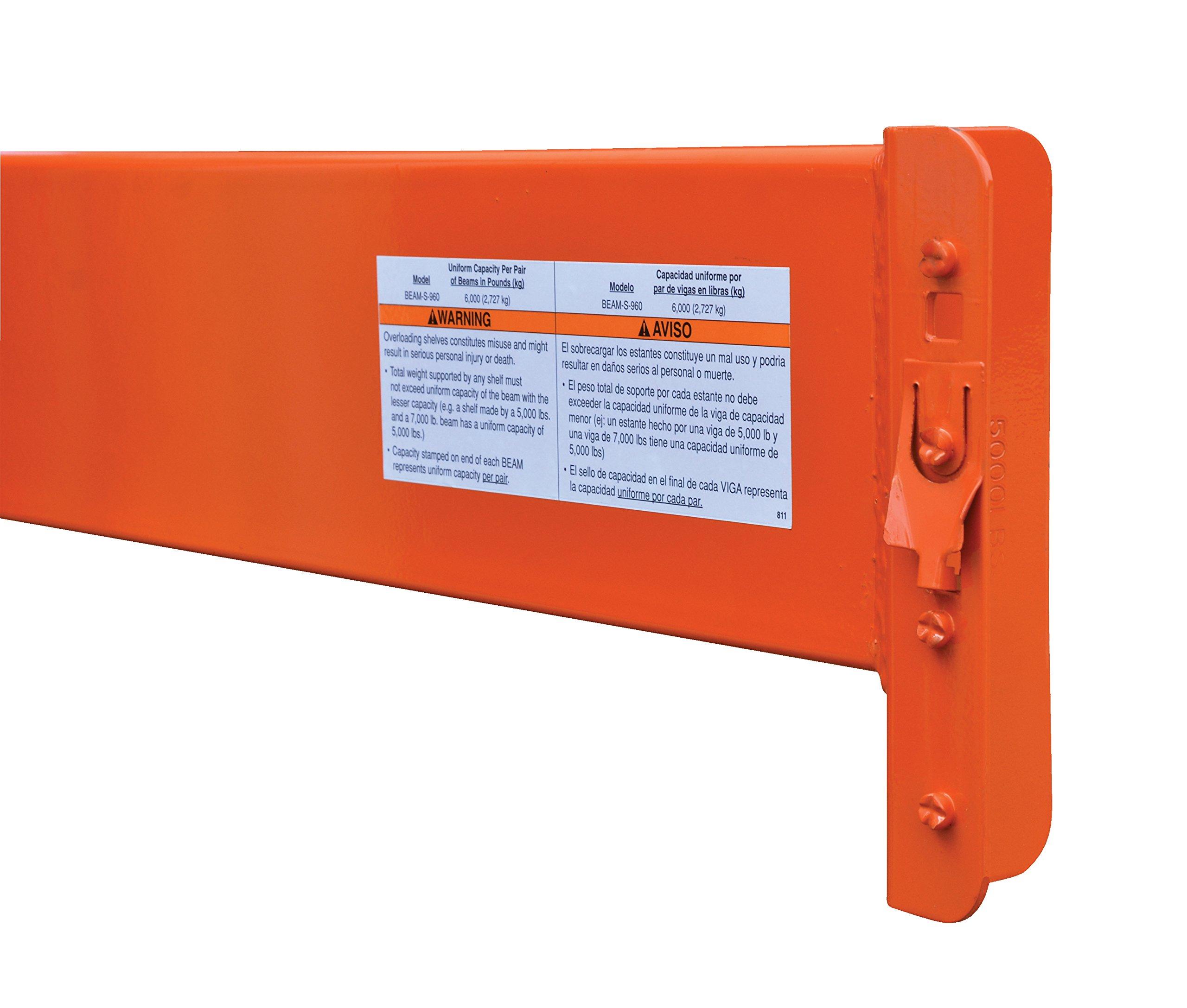 Vestil BEAM-S-1260 Steel Pallet Racking Step Beam, 6000 lb., 144'' Length, 3'' Width, 6'' Height