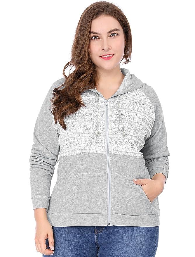 6c33490e1b4ee1 Agnes Orinda Women s Plus Size Kangaroo Pocket Lace Zip up Hoodie at Amazon  Women s Clothing store