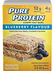 Pure Protein Chewy Oat Bars, Gluten Free, Snack Bar, Blueberry, 50 gram, 6 Count