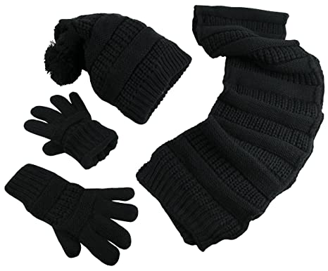 d1da1dde70c N Ice Caps Women s Solid Cable Knit Hat Scarf Gloves Accessory Set ...