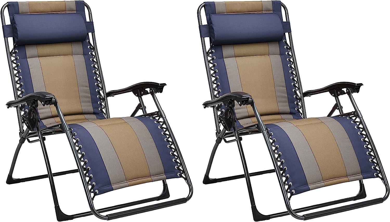 AmazonBasics - Set de 2 sillas acolchadas con gravedad cero - de color azul