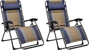 AmazonBasics Padded Zero Gravity Chair- Blue, 2 Pack
