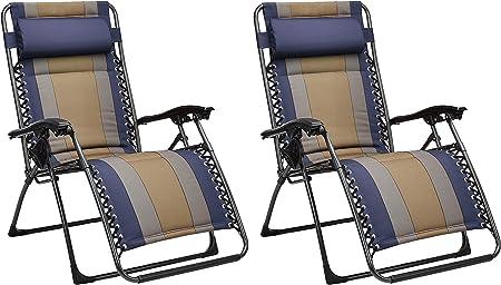 AmazonBasics Padded Zero Gravity Chair Blue, 2 Pack