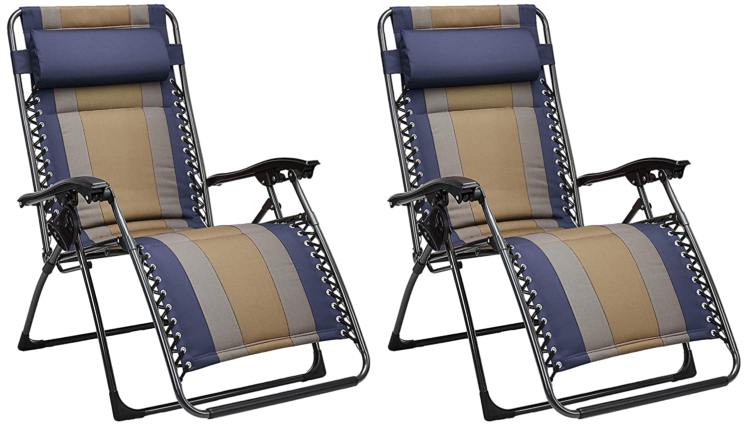 AmazonBasics Padded Zero Gravity Chair- Blue, 2 Pack