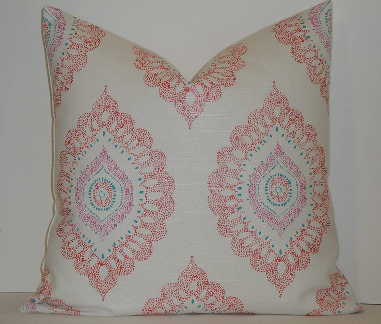 Medallion in Coral Orchid Turquoise Vintage Rustic Floral Throw Pillow Cover Geometric Farmhouse Decor Cushion Cover Pillow Case for Floor Party Decor Living Room Sofa Couch Gift for Her Pillowcase