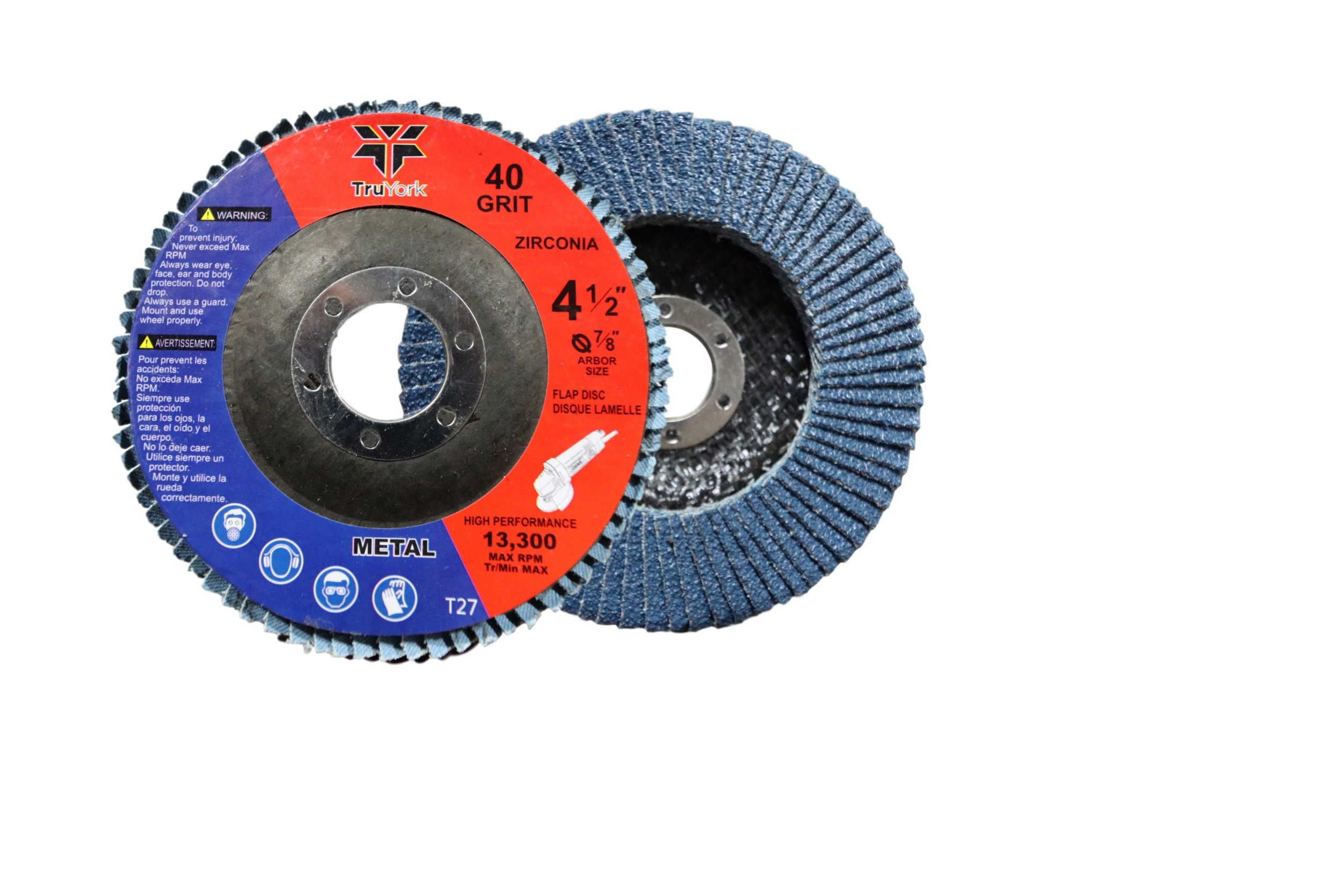 Sanding Discs - 4.5in Heavy Duty Zirconia Abrasive Grinding wheels, 10 Pack ( 40 grit 5pcs & 80 grit 5pcs ) For Angle Grinder, 7/8'' Arbor size Grinder wheel