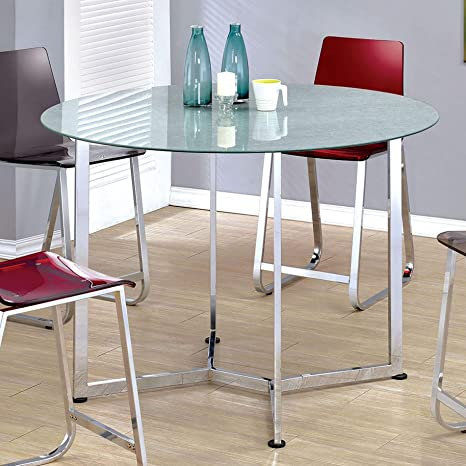 Amazoncom Furniture Of America Miellis Contemporary Round Glass