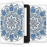 kwmobile Cover per Tolino Shine 2 HD - Custodia a libro per eReader - Copertina protettiva libro flip case Protezione per e-book reader Design Mandala blu blu chiaro bianco